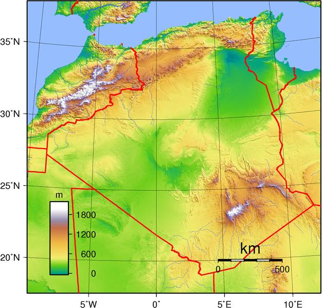 Mapa físico de Argelia