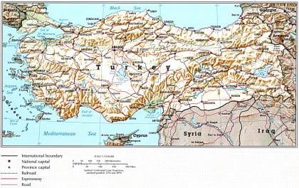 Mapa físico de Turquía