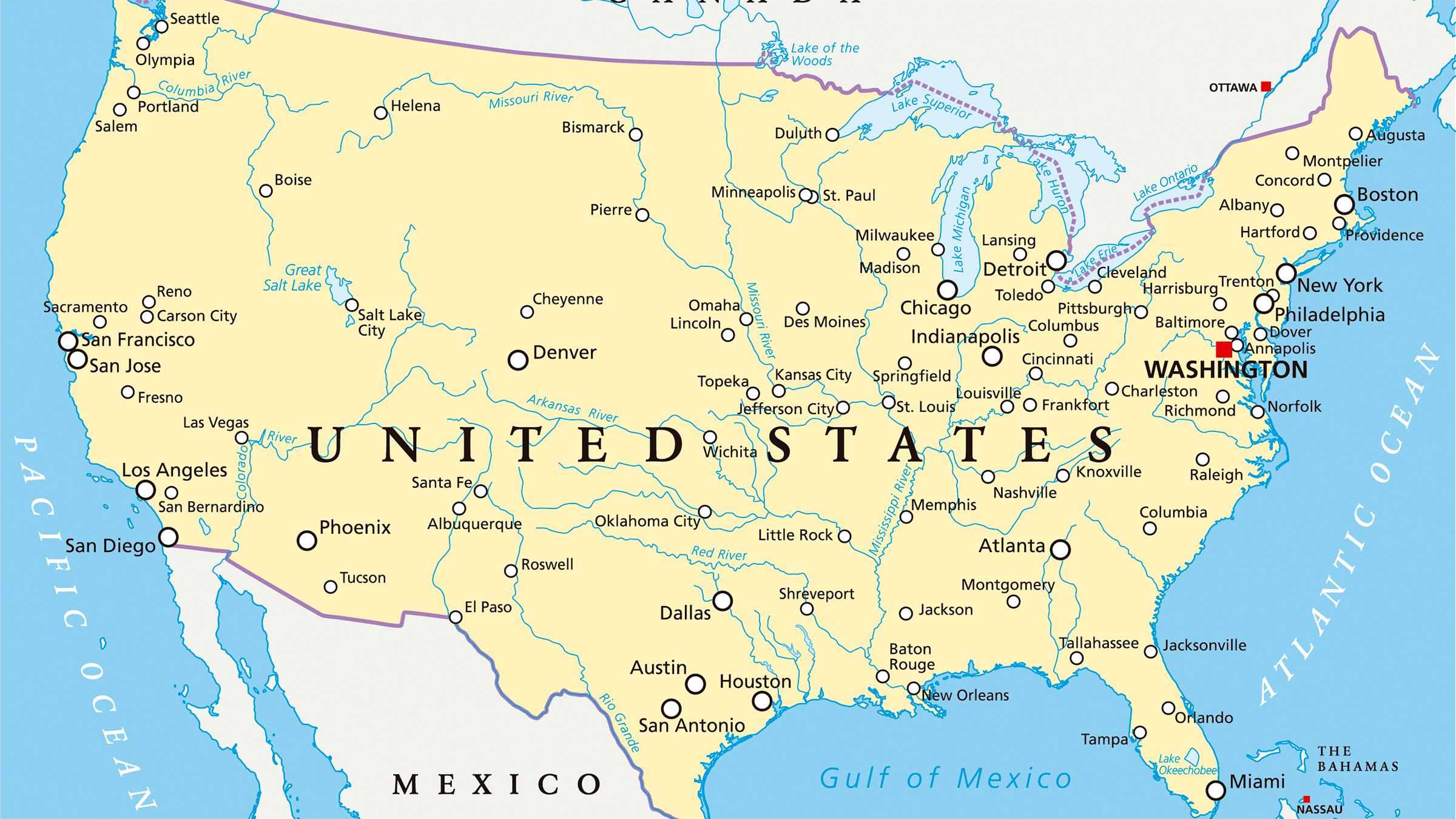 mapa dos estados unidos Mapa hidrográfico de Estados Unidos mapa dos estados unidos