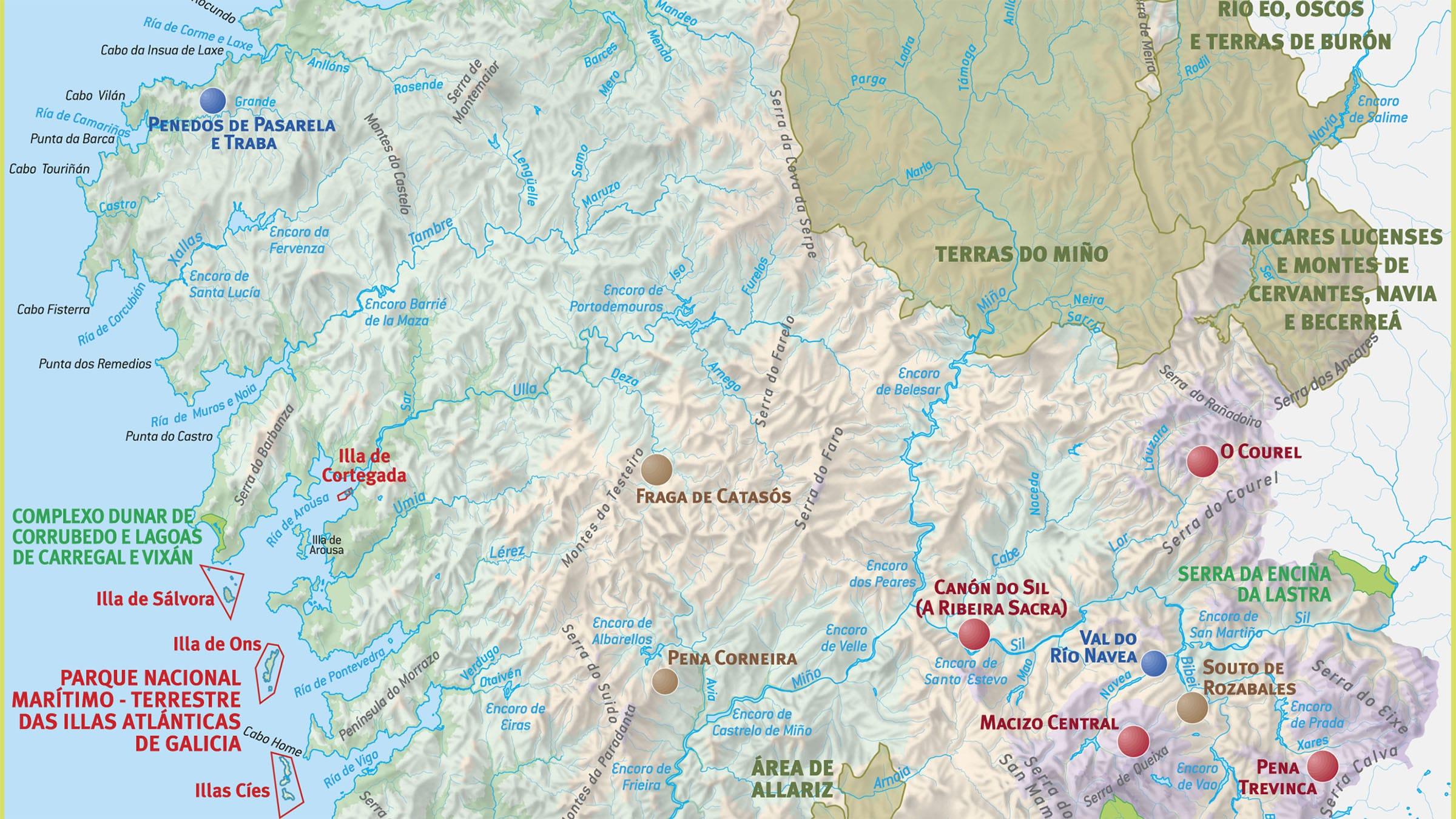 Mapa físico, Galicia