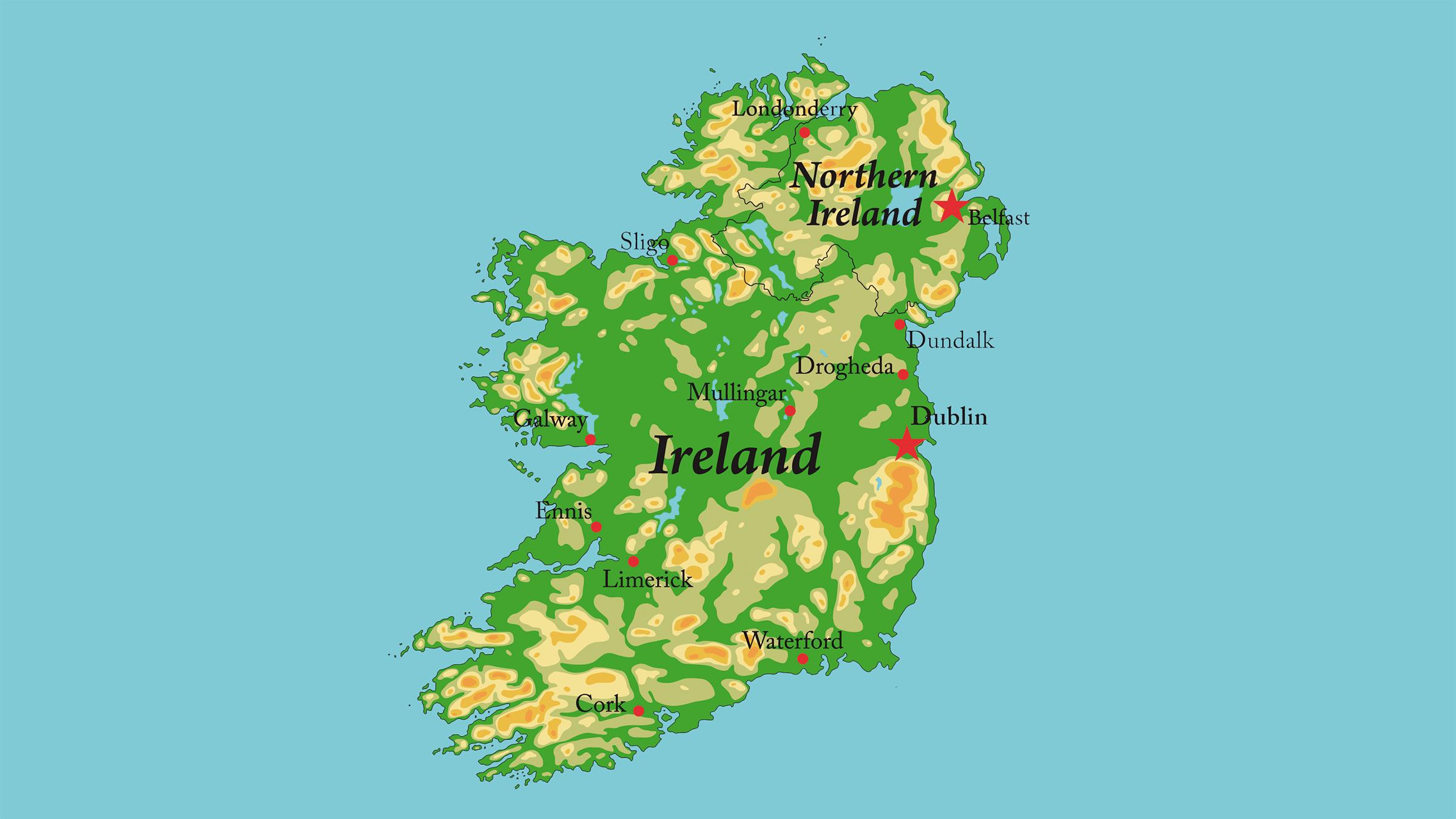 Mapa físico de Irlanda