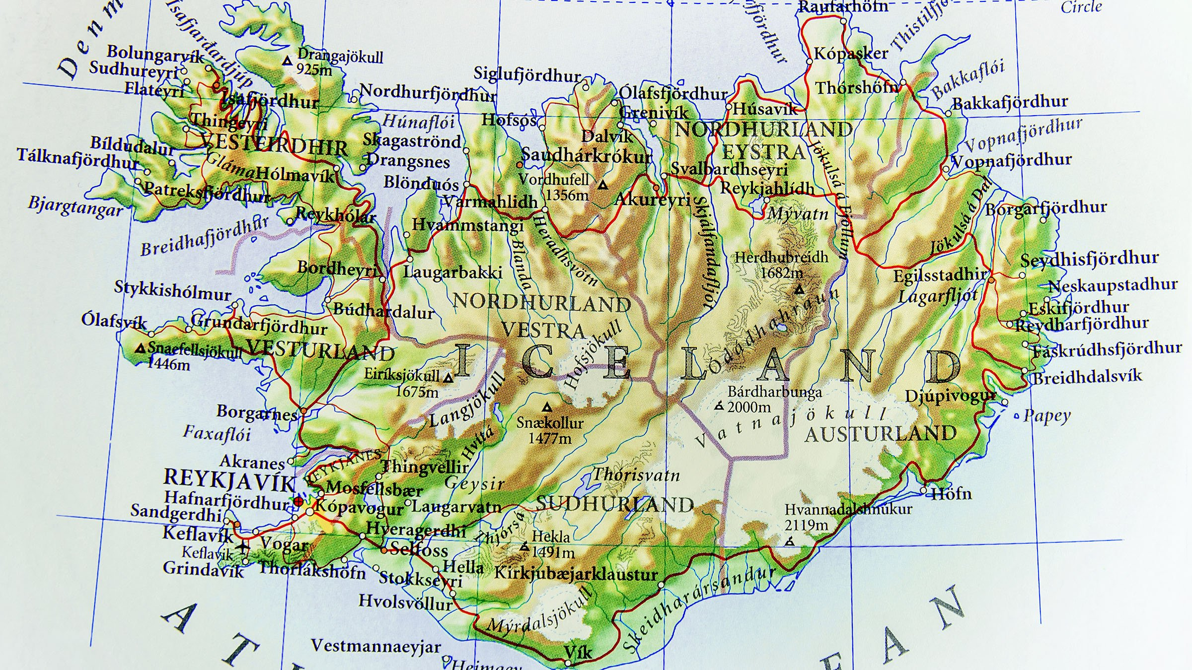 Mapa físico de Islandia