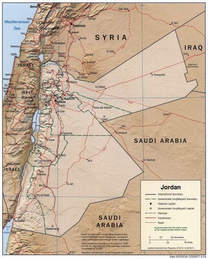 Mapa físico de Jordania