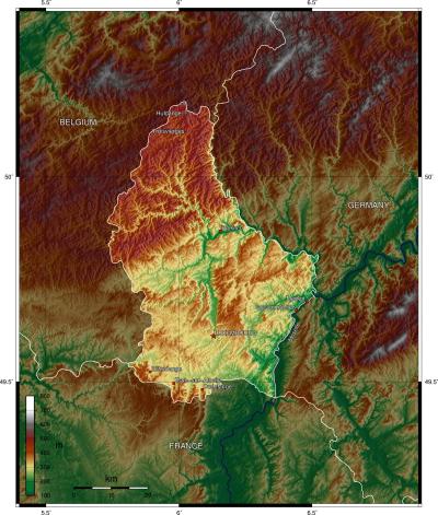 Mapa físico de Luxemburgo