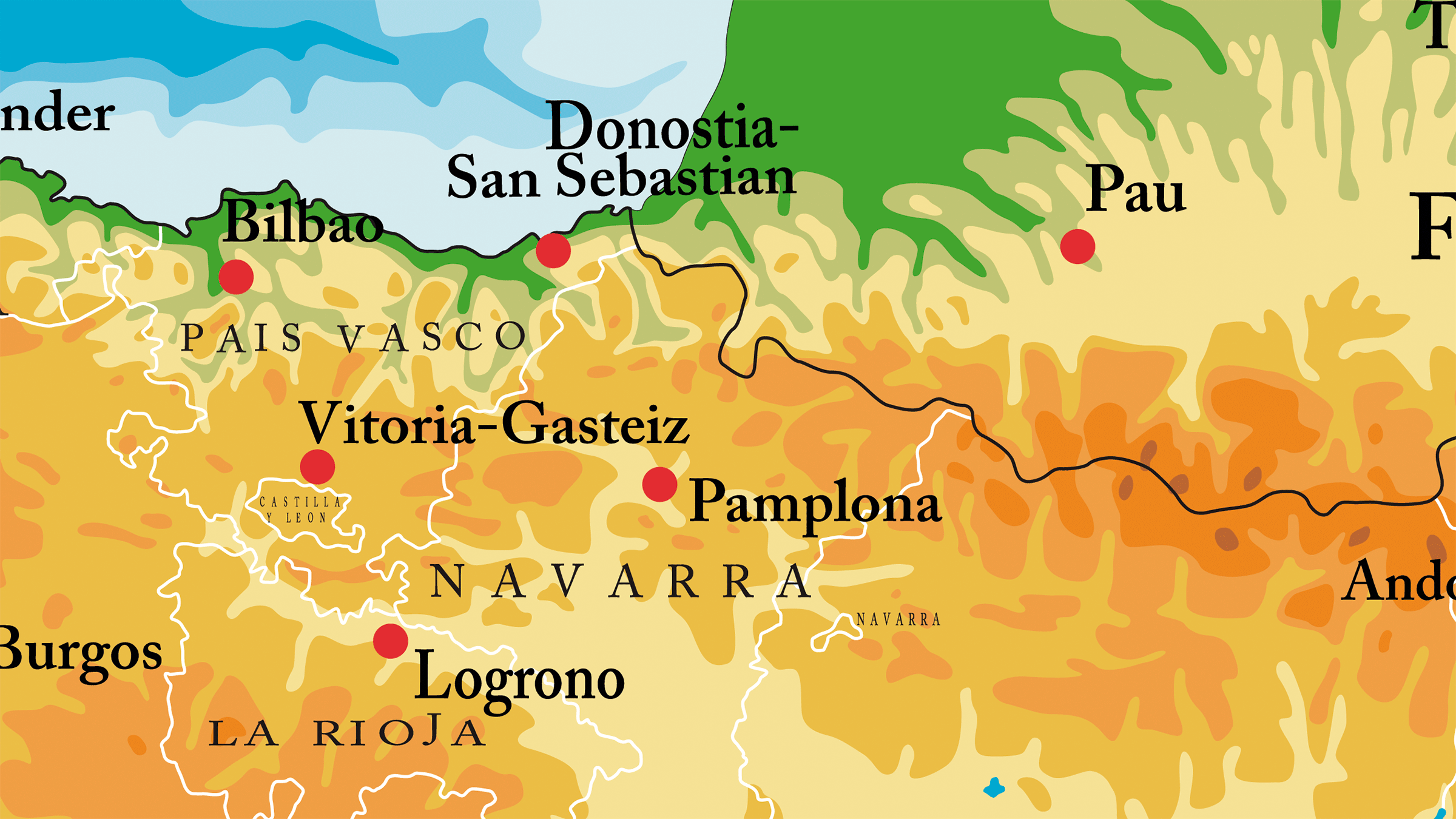 Mapa físico de Navarra