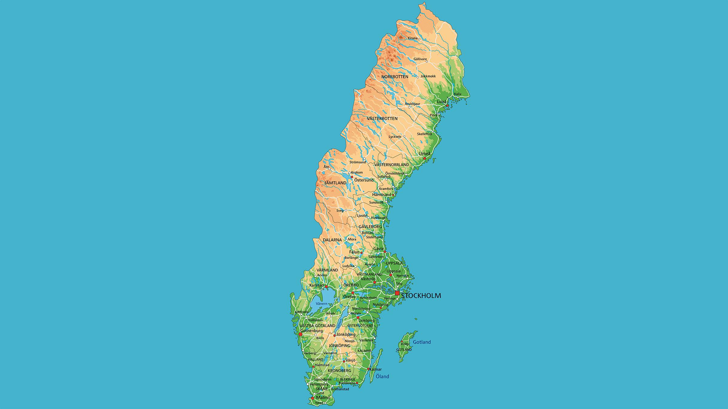 Mapa Politico De Suecia.Mapa Fisico De Suecia