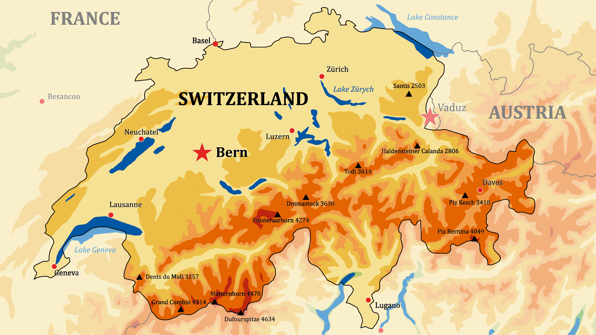 Mapa físico de Suiza