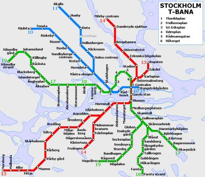Mapa del metro de Estocolmo