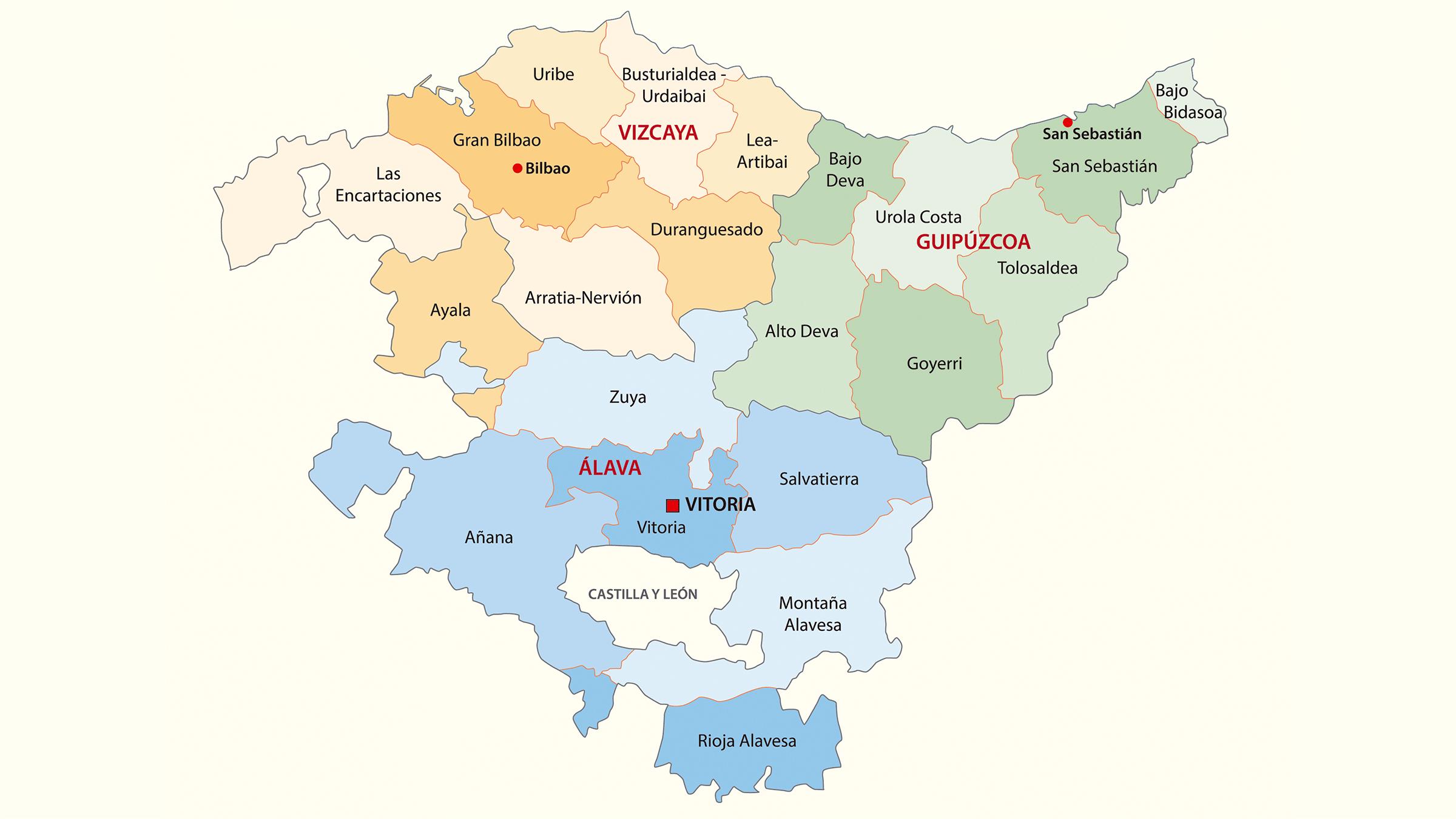 Mapa de provincias del País Vasco
