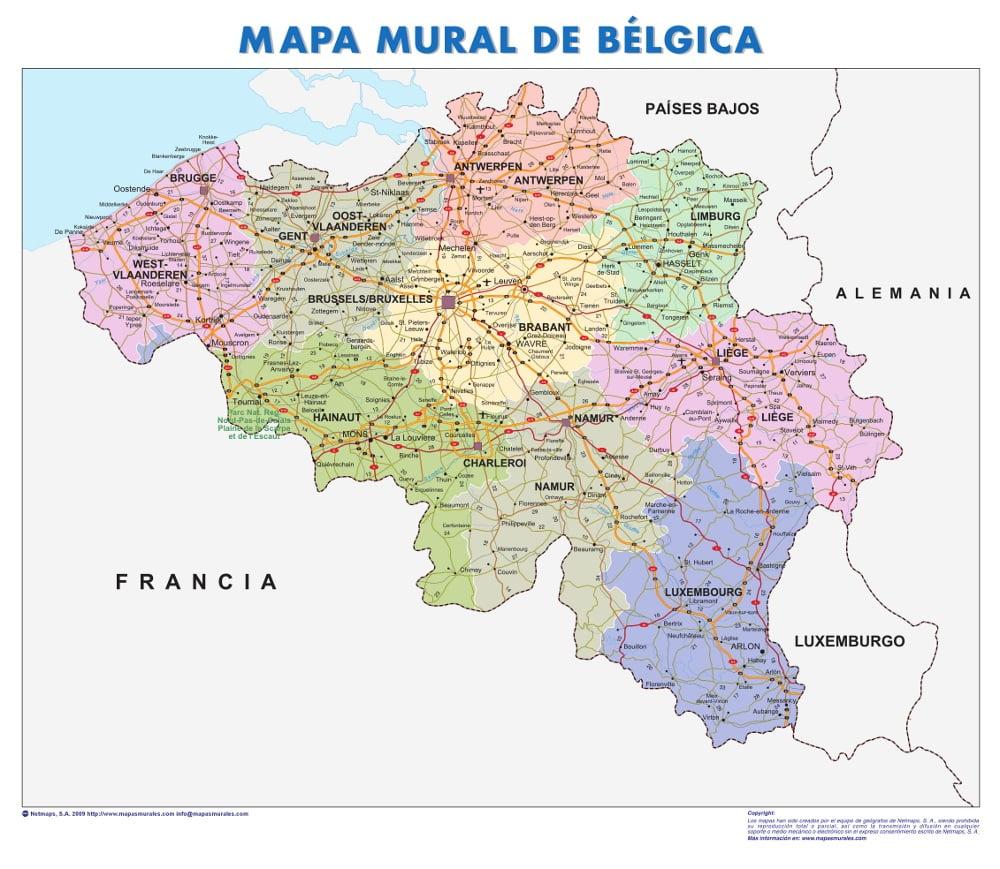 Mapa De Carreteras De Belgica
