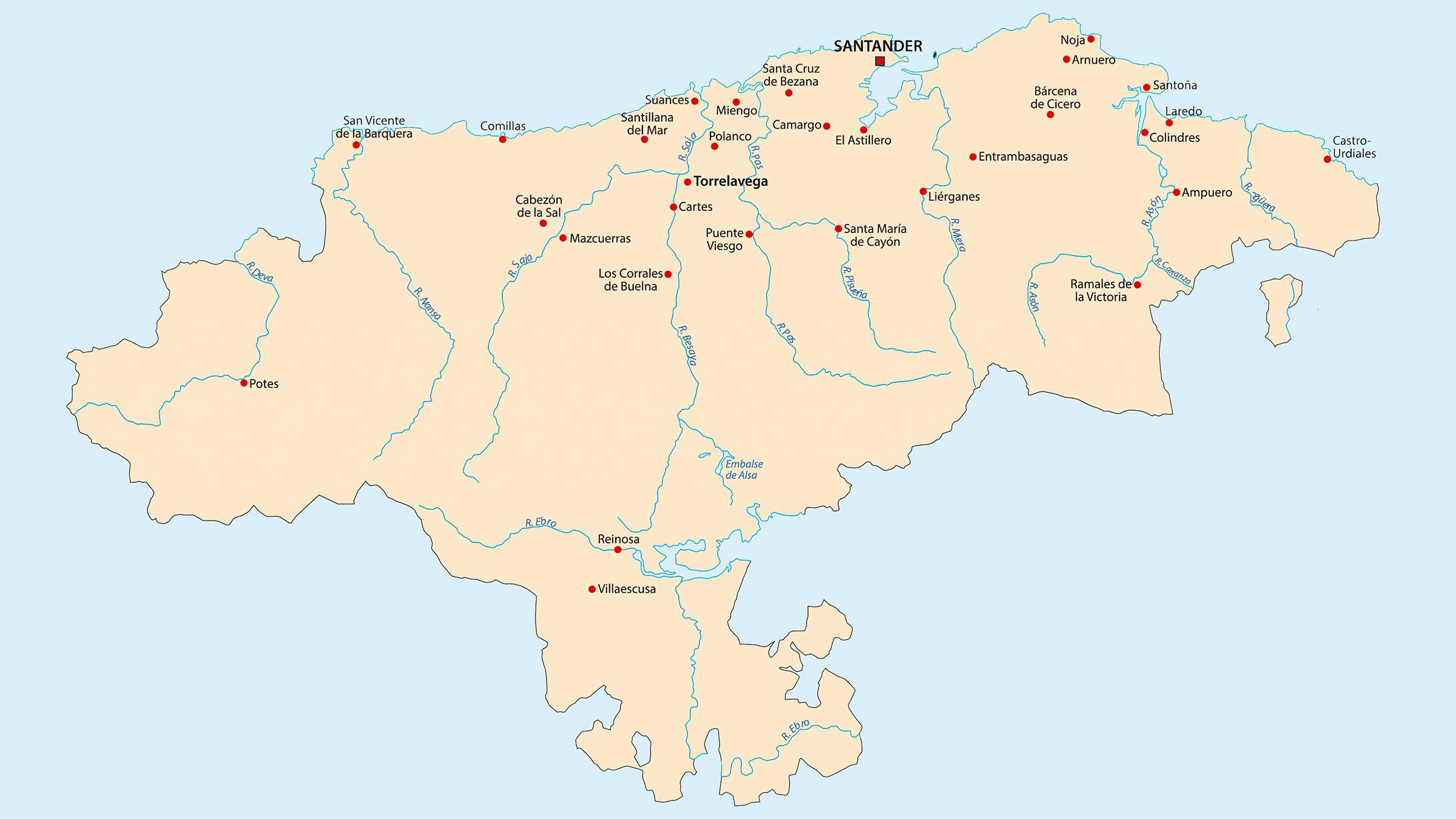 Mapa político de Cantabria