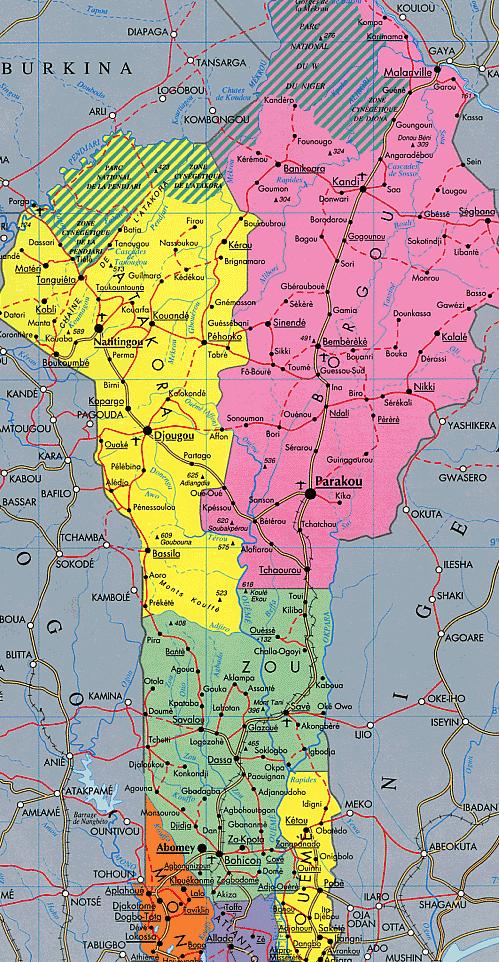 Mapa Político de Benín