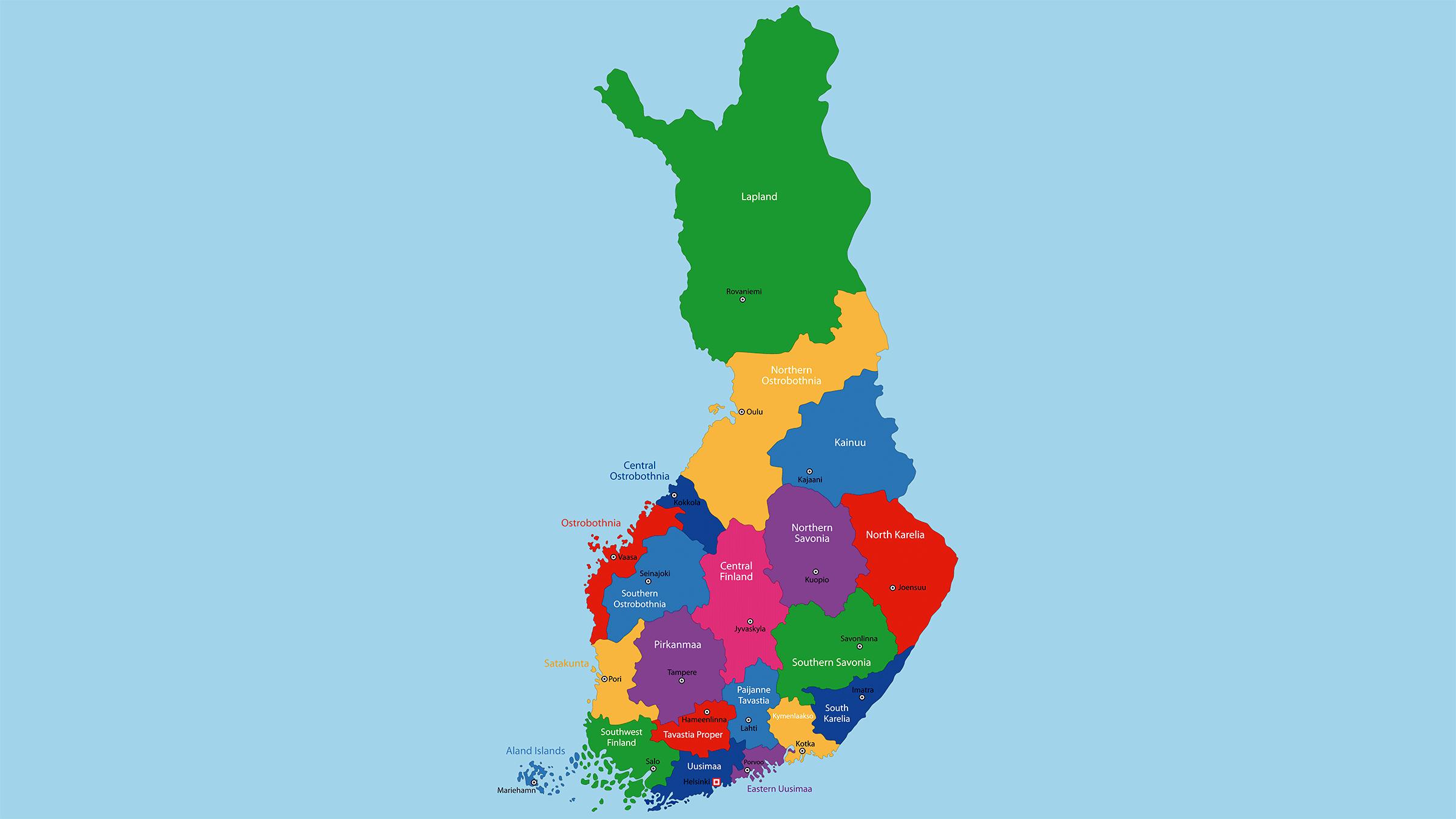 Mapa político de Finlandia