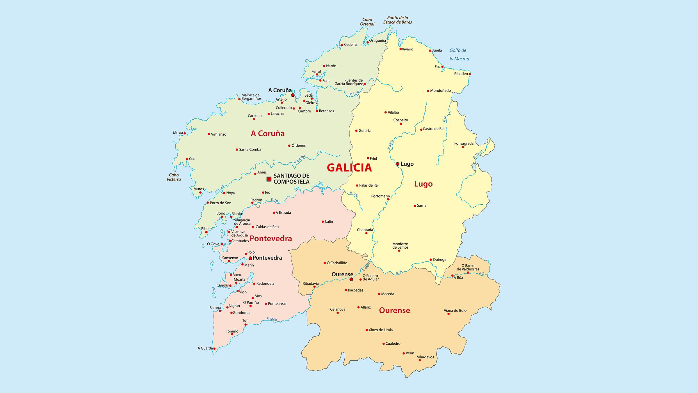 Mapa De Galicia España.Mapa Politico De Galicia