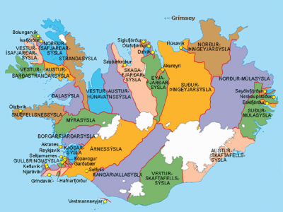Mapa político de Islandia