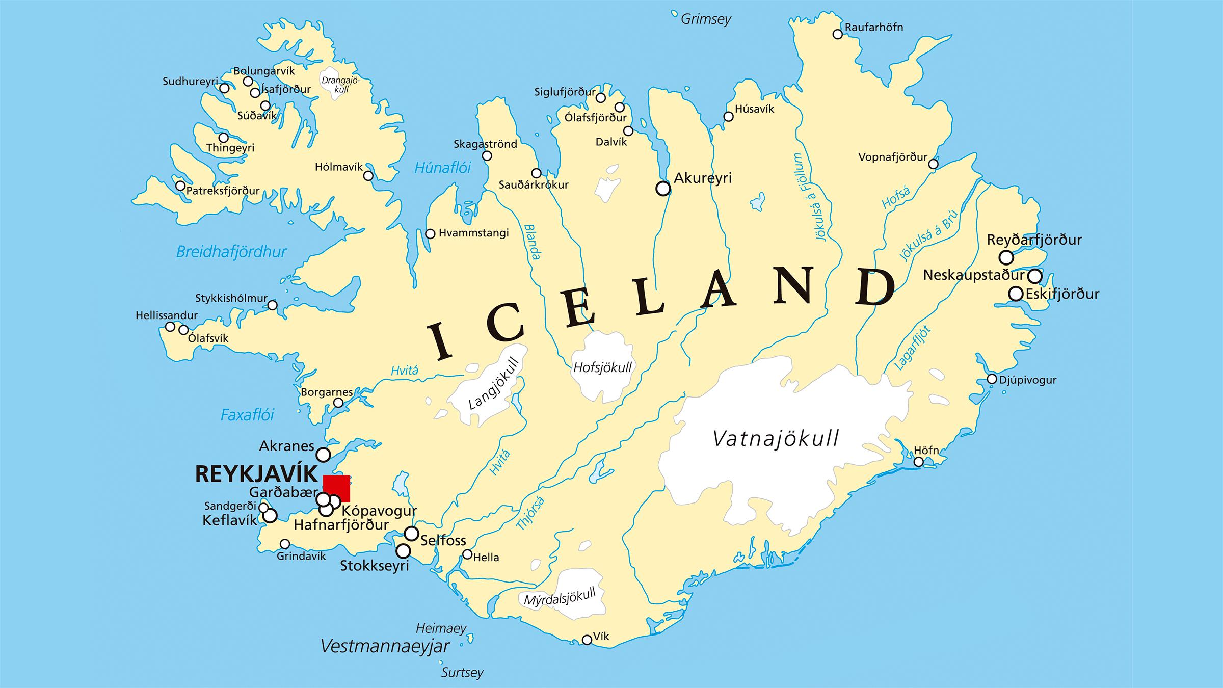 islandia mapa Mapa político de Islandia islandia mapa