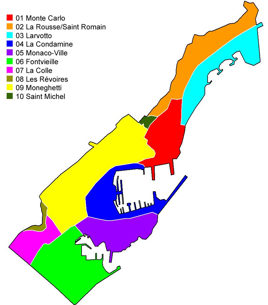 Mapa político de Mónaco
