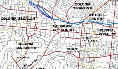 mapa San Salvador el salvador del mundo