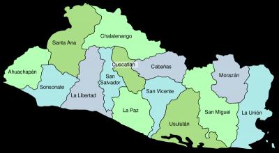 mapa San Salvador y sus departamentos