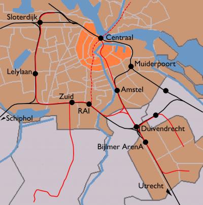 Mapa del tren de Ámsterdam