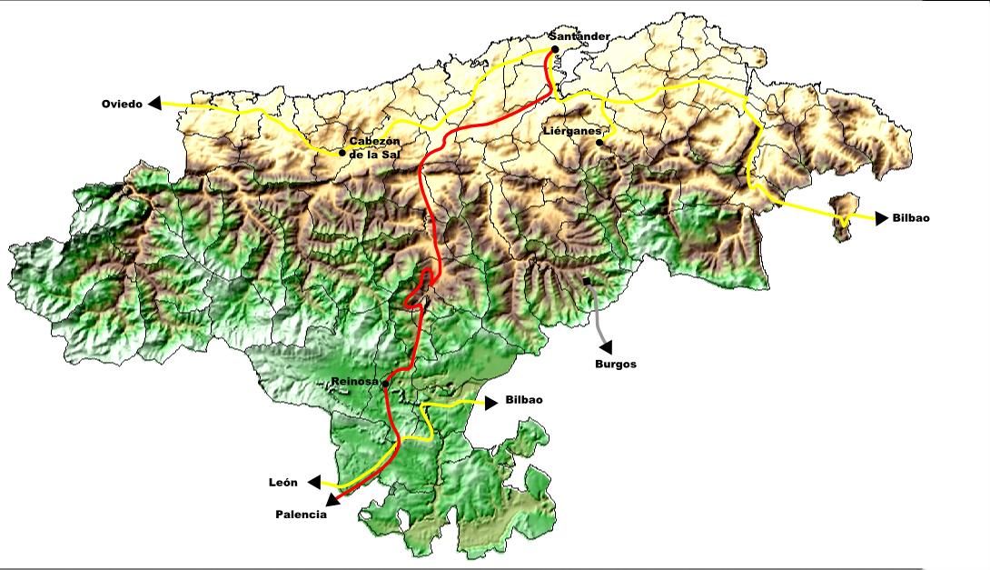 Mapa del tren en Cantabria