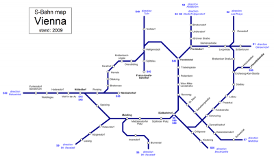 Mapa del tren de Viena