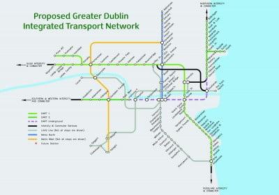 Mapa de los trenes de Dublín