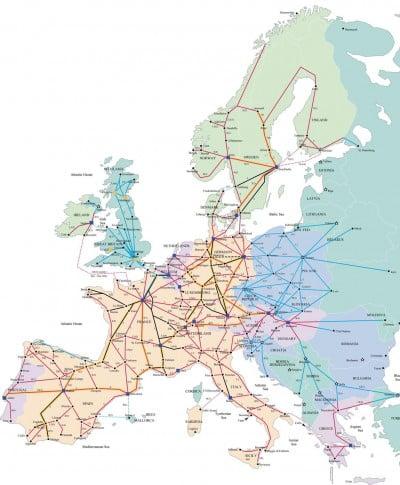 Mapa de trenes en Europa