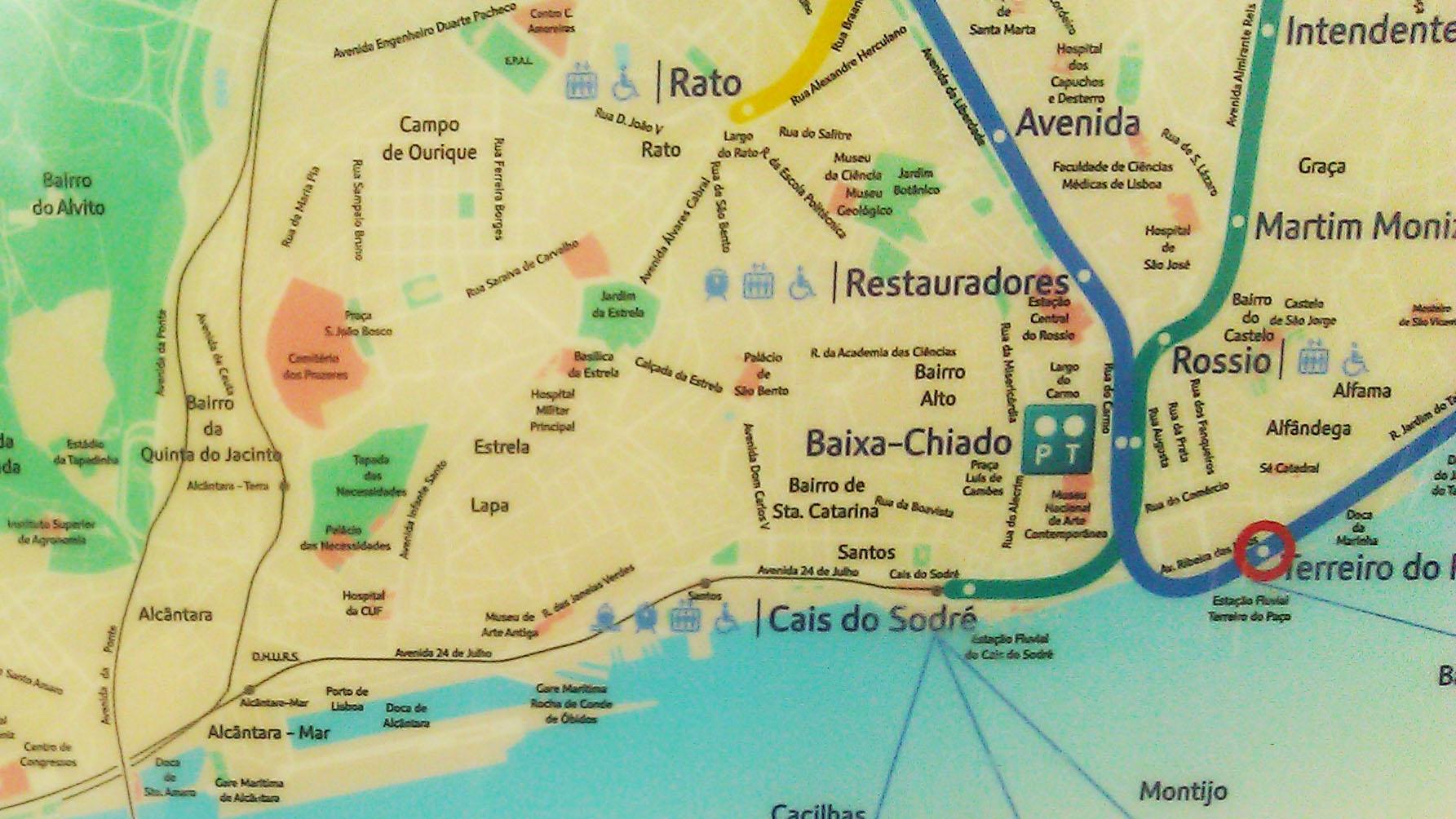 santa catarina lisboa mapa Mapa de trenes de Lisboa santa catarina lisboa mapa