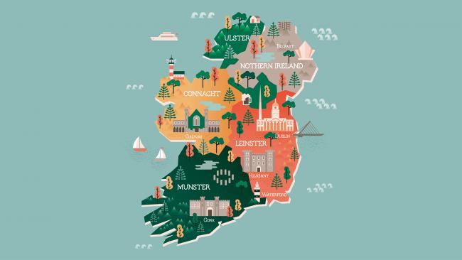 Mapa turstico de Irlanda