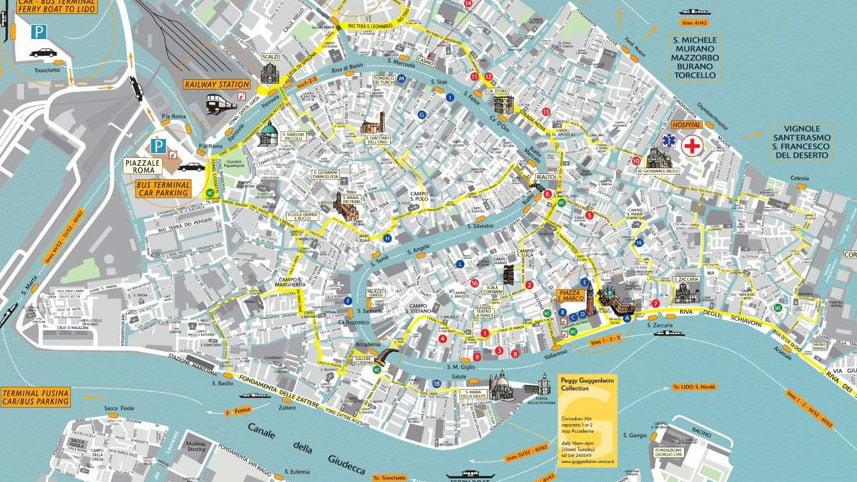 Cartina Turistica Di Venezia.Mappa Turistica Di Venezia