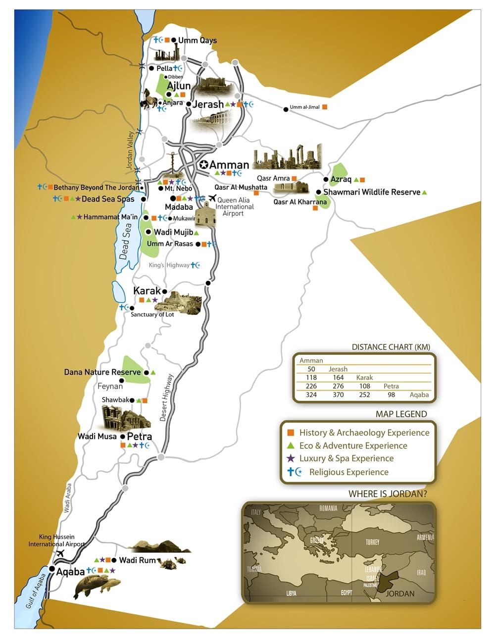 Mapa Turístico de Jordania