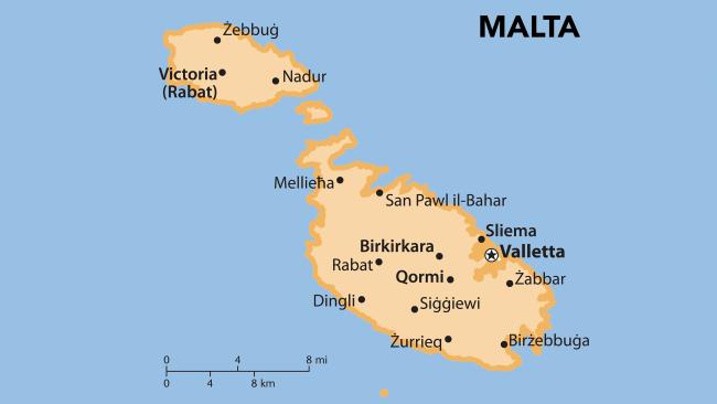 Τουριστικός χάρτης της Μάλτας