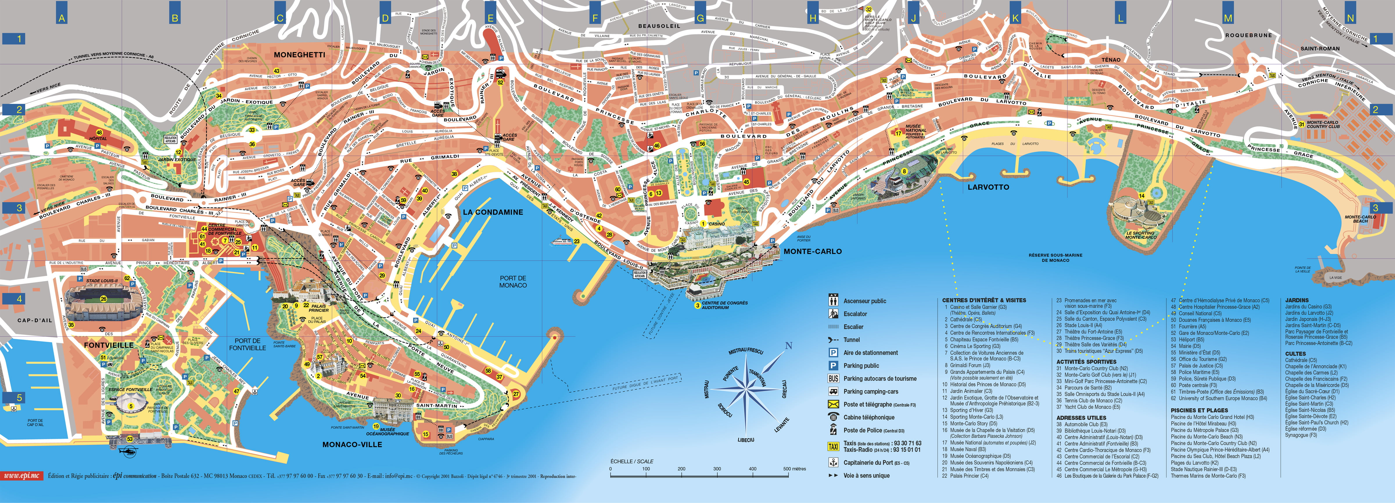 Mapa turístico de Mónaco