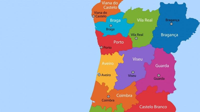 Mapa político de Portugal: zona norte