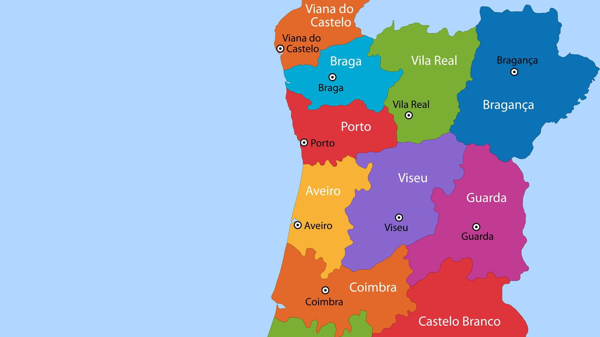 mapa de portugal hd Mapa político de Portugal: zona norte mapa de portugal hd