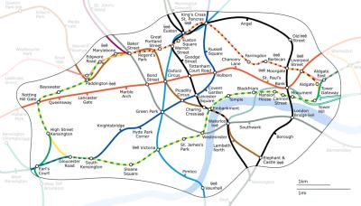 metro de Londres mapa de la zona