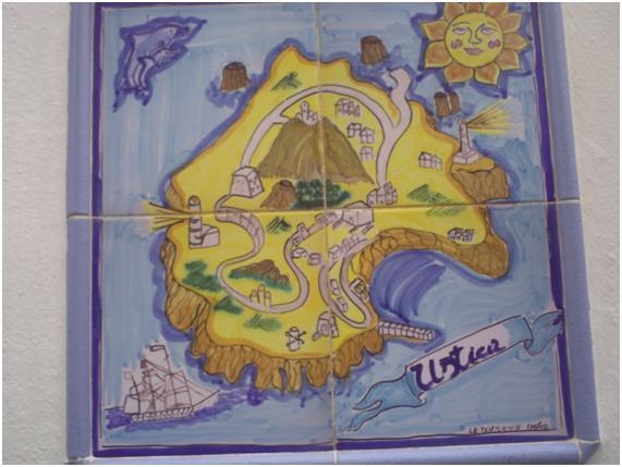 Mosaico, plano de la isla de Ustica, Sicilia