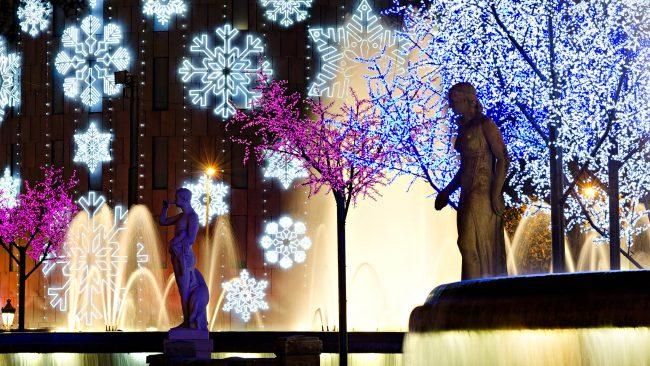 バルセロナのカタルーニャ広場でのクリスマス