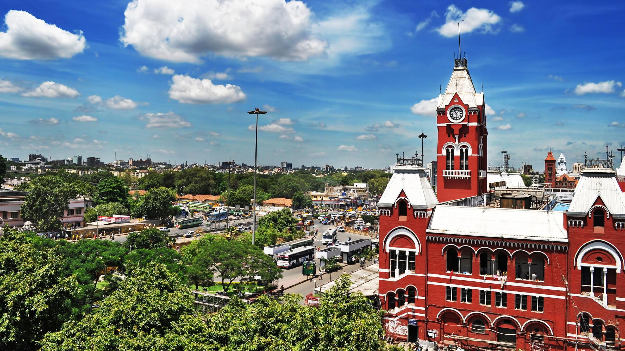paisajes de la India los edificios de ferrocarril en Madras