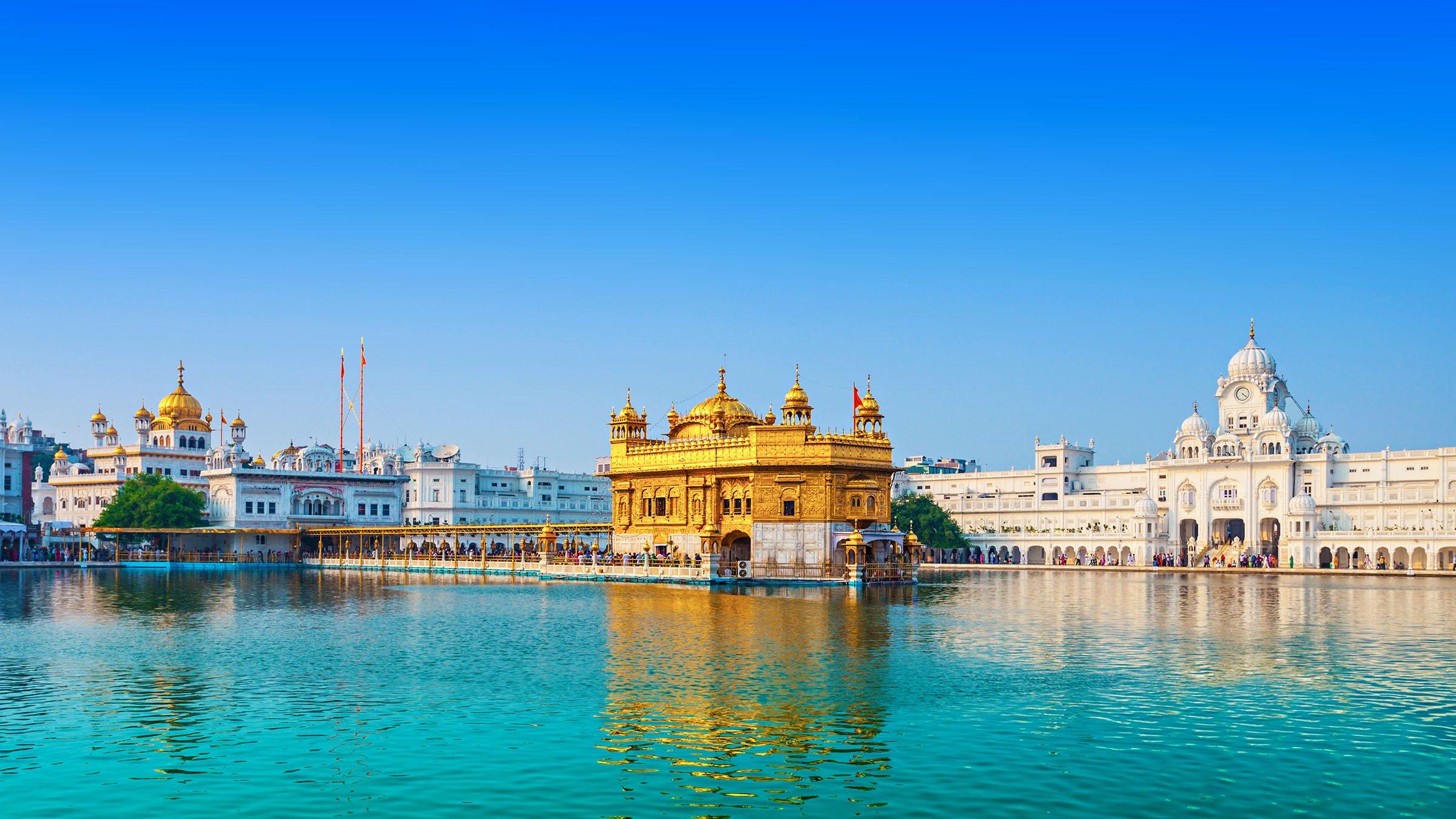 paisajes de la India templo de oro en Amritsar
