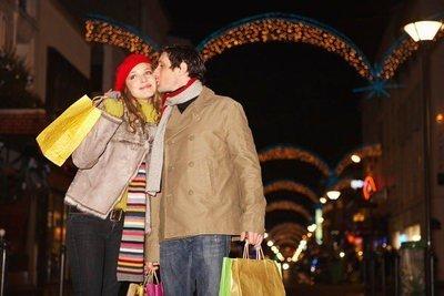 paisajes navideños volviendo de las compras