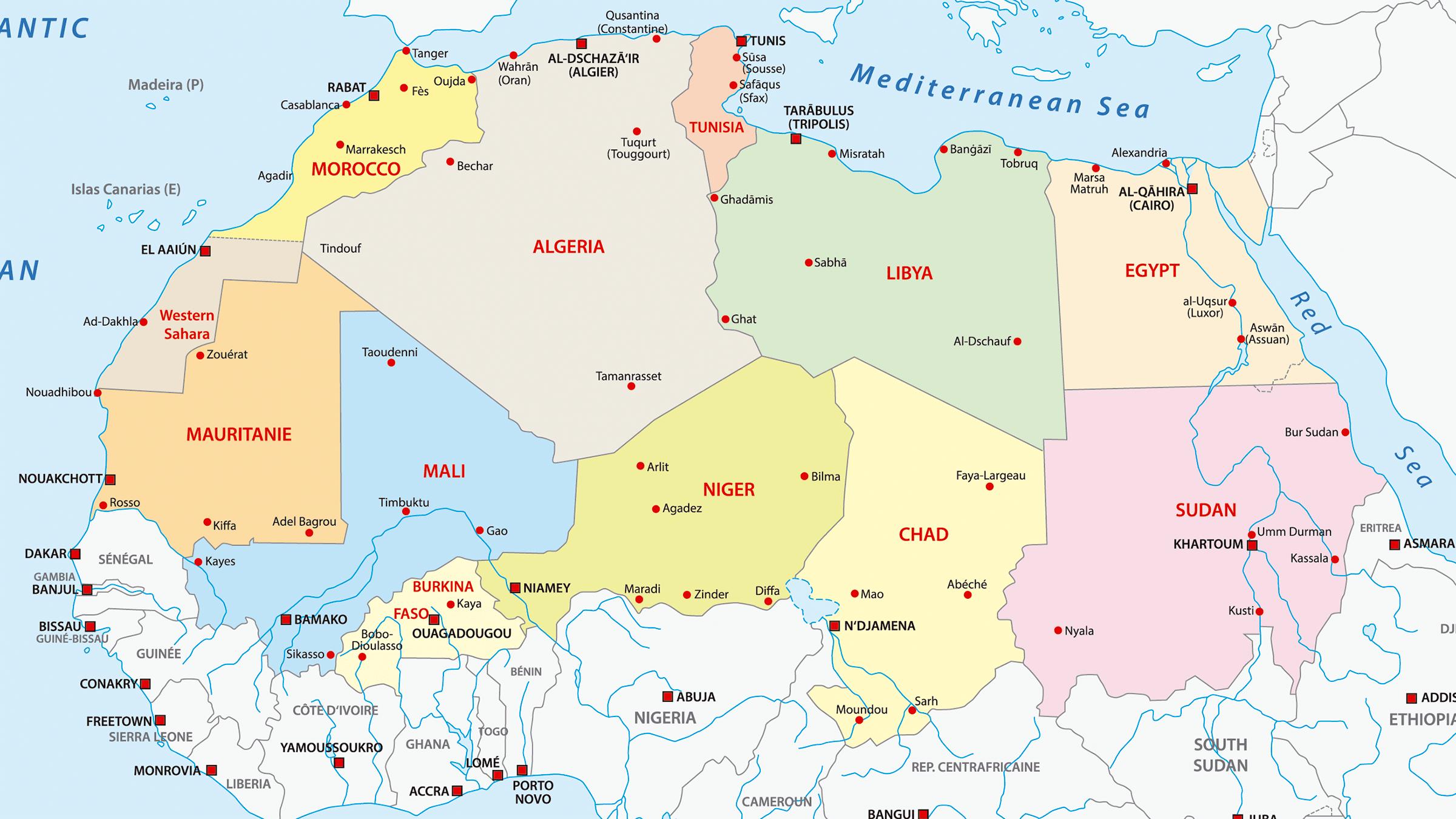 Desierto Del Sahara Mapa.Mapa De Los Paises En Los Que Se Encuentra El Sahara