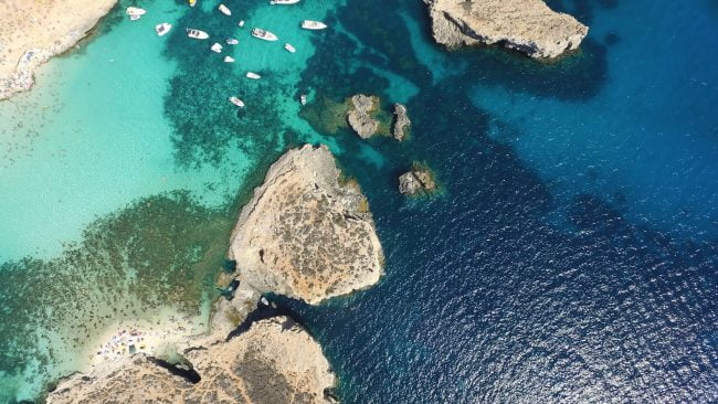 Aerial panorama of the island of Malta