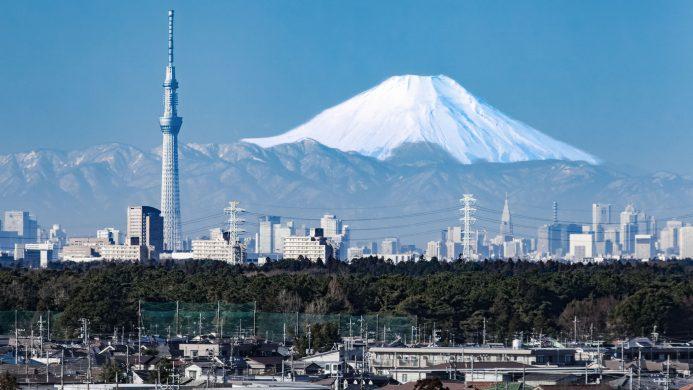 Vista xeral de Tokio co nevado monte Fuji