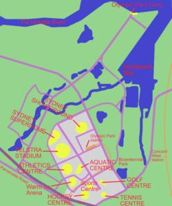Mapa del Parque Olímpico de Sidney