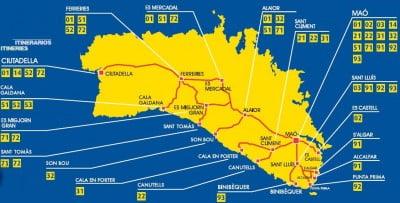Plano de autobuses de Menorca