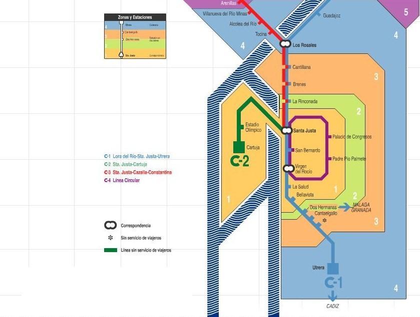 Plano de Cercanías de Sevilla