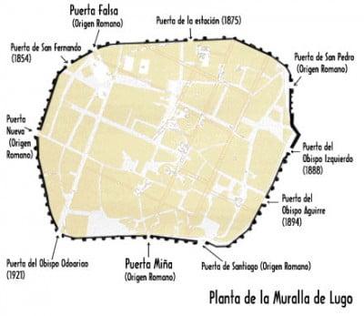 Plano de la muralla de Lugo