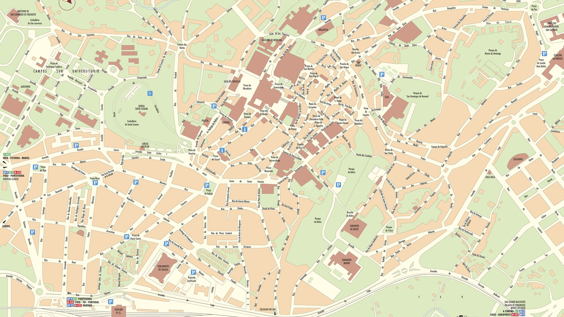 Plano De Santiago De Compostela Galicia
